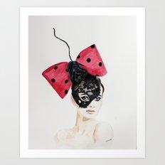 Debry Hat. Black Lace Head Piece. Art Print