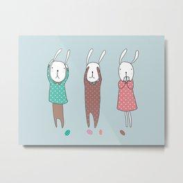 Three Wise Bunnes Metal Print