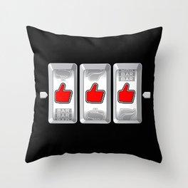 Jackpot / Slot machine hitting three thumbs up Throw Pillow
