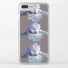SNOW WHITE SPRING IRIS  GREY MONTAGE Clear iPhone Case