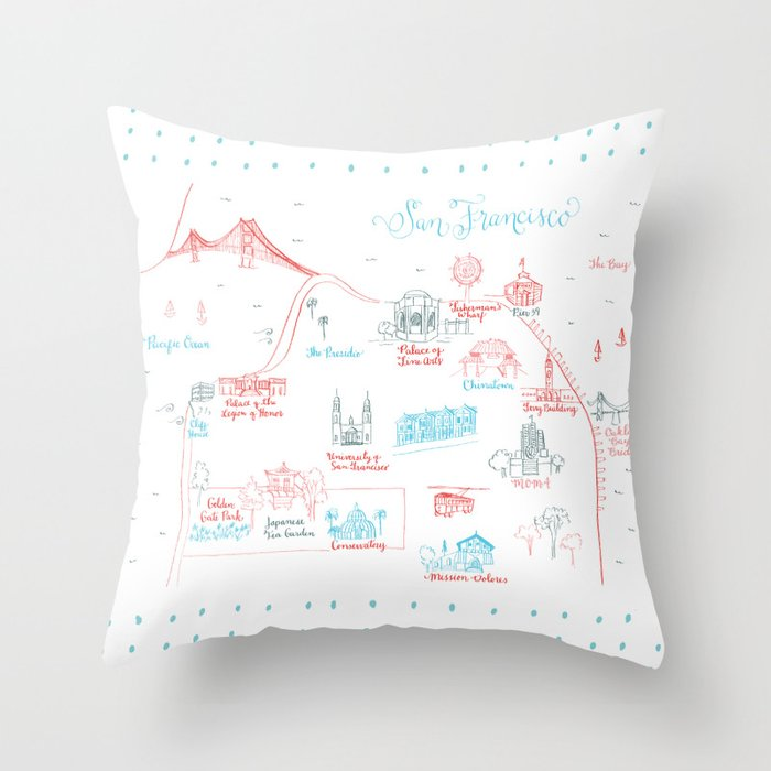 San Francisco Illustrated Calligraphy Map Throw Pillow