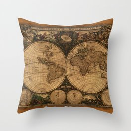 Nova Totius Terrarum Vintage Map Throw Pillow