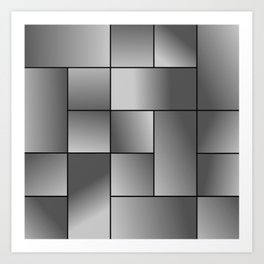 Grey Gradient Squares Art Print