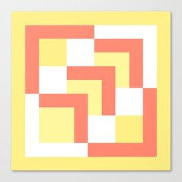 Squares Yellow + Salmon Canvas Print