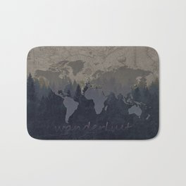 world map wanderlust forest grey Bath Mat