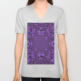 Encrusted Amethyst Purple Gems February Birthstones art Unisex V-Neck