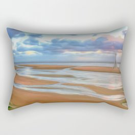 The Beach at Sunset (Digital Art) Rectangular Pillow