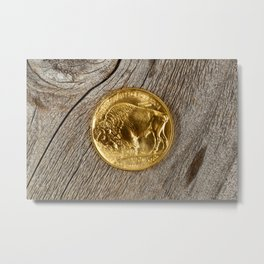 Fine gold Buffalo Coin on rustic real wooden background Metal Print
