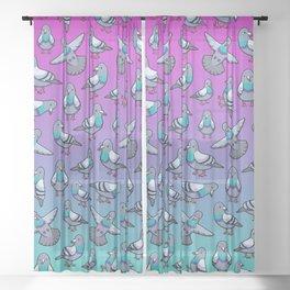 Pretty Pigeons Sheer Curtain
