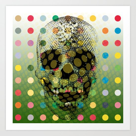 Op Art Skull With Multi-coloured Dots Art Print