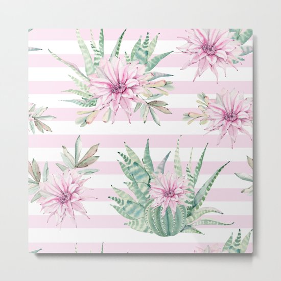 Simply Striped Cactus Desert Rose Pink Metal Print