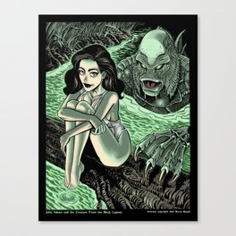 Julia Adams and the Creature from the Black Lagoon Canvas Print