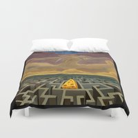 justice league Duvet Covers featuring Justice Game by gunberk
