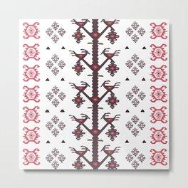 Tribal Ethnic Love Birds Kilim Rug Pattern Metal Print