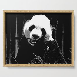 Cute Giant Panda Bear with tasty Bamboo Leaves Serving Tray