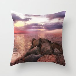 Stones by seaside Throw Pillow