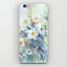 watercolor drawing - white daisies, beautiful bouquet, painting iPhone Skin