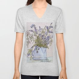 Wildflowers Botanical Flowers in Pitcher Unisex V-Neck
