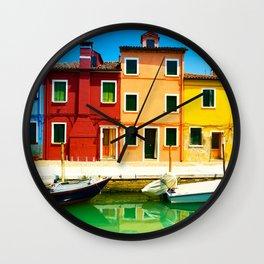 Burano island, colorful houses and boats, Venice, Italy. Wall Clock