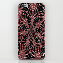 Intricate Black Red and White Kaleidoscope iPhone Skin
