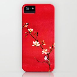 Watercolor Chickadees on a Flowering Magnolia Branch iPhone Case