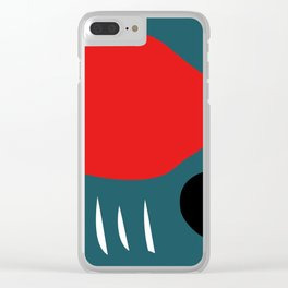 Minimal Red Black Abstract Art Clear iPhone Case