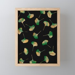 Ginkgo biloba leaves black Framed Mini Art Print