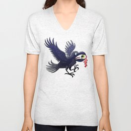 Crow Stealing an Eye Unisex V-Neck