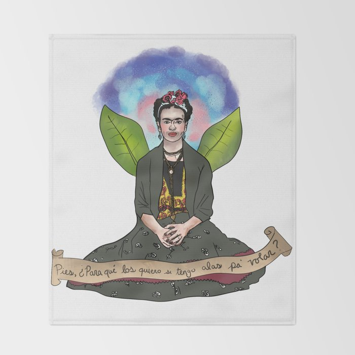Frida Khalo - Alas para volar Throw Blanket