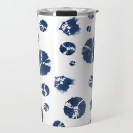Shibori Polka Splotch Indigo Blue Travel Mug