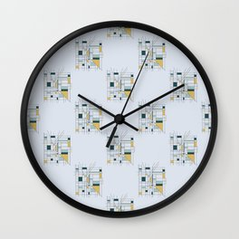 City Grid Geometric Half Drop Surface Pattern Design Wall Clock