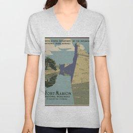 Vintage American WPA Poster - Fort Marion National Monument, St. Augustine, Florida (1938) Unisex V-Neck