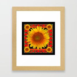 RED-TEAL BLACK  DECO YELLOW SUNFLOWERS Framed Art Print
