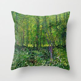Vincent Van Gogh Trees & Underwood Throw Pillow