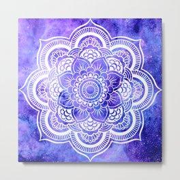 Mandala Violet Blue Galaxy Space Metal Print