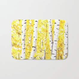 Yellow Aspen Trees Watercolor art Painting Yellow Birches wall hanging wall Art Bath Mat