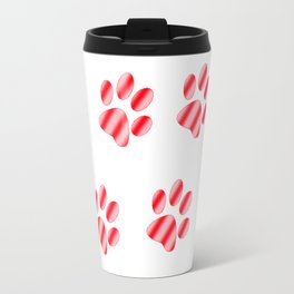 Red and Pink Gradient Paws Travel Mug