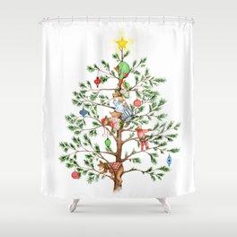 Christmas PJ Bear Cubs Shower Curtain