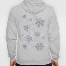 Snowflakes Embroidered on Misty Sky Hoody