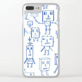 Robot Crowd Clear iPhone Case