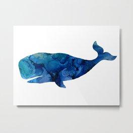 Watercolor Ocean Nautical Octopus Whale Pattern Metal Print
