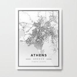Athens Modern Map Metal Print