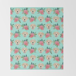 Yellow Labrador Retriever floral bouquet flowers yellow lab dog breed pattern gifts Throw Blanket