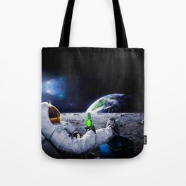 Astronaut on the Moon with beer Tote Bag