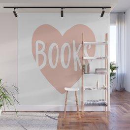 Heart Books - hand lettered Wall Mural