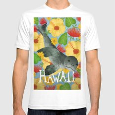 Hawaii MEDIUM White Mens Fitted Tee