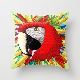 Macaw Parrot Paper Craft Digital Art Throw Pillow