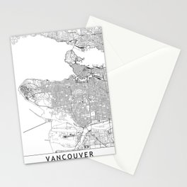 Vancouver White Map Stationery Cards