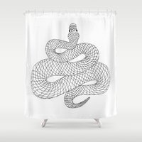 snake Shower Curtains featuring Snake by Syrupea