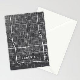 Phoenix Map, Arizona USA - Charcoal Portrait Stationery Cards
